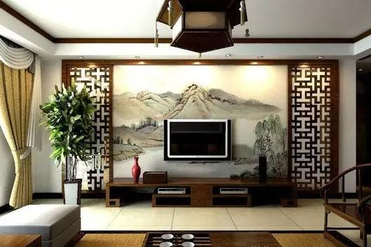 柳州家装墙绘之国画山水手绘电视背景墙